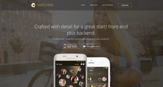 Matchinx app landing page