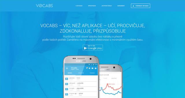 Vocabs app landing page